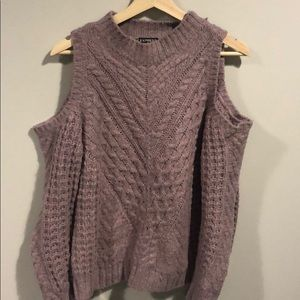 EXPRESS Bare-Shoulder Lilac Sweater